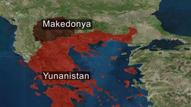 Yunanistan ve Makedonya haritası