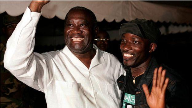 Laurent Gbagbo et Charles Blé Goudé lors d'un meeting à Yopougon