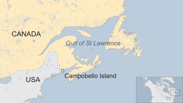 Map Showing Campobello Island In Relation To The Us Canada Border And The Gulf