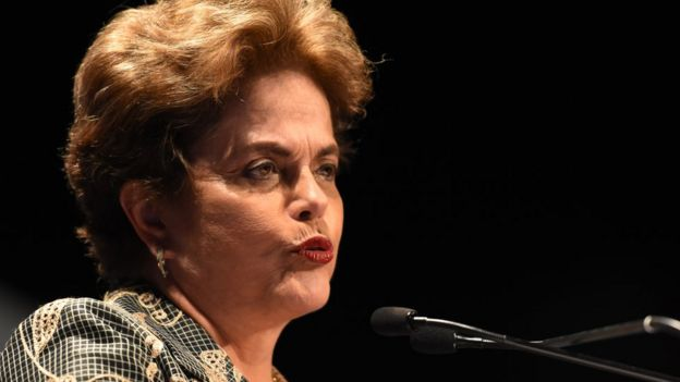 Former President of Brazil Dilma Rousseff speaking at a conference in 2017.