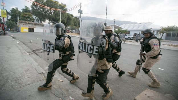 Riot police in Port-au-Prince, 7 February