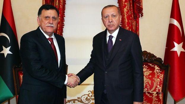 Fayez al-Sarraj ile Recep Tayyip Erdoğan