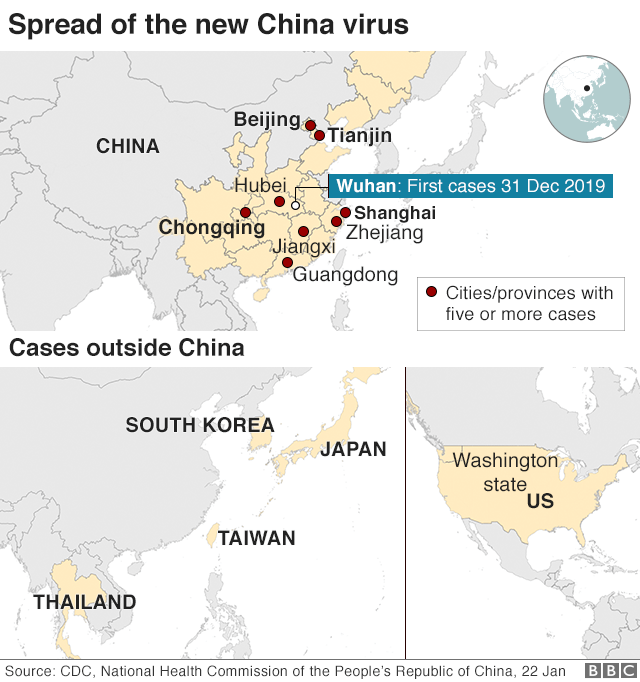 Map: Confirmed cases in China and around the world
