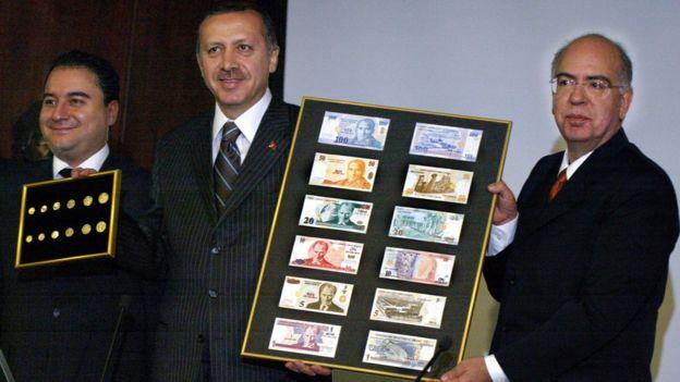 2004 yılında Türk Lirası'ndan altı sıfır atıldığında yeni banknotlar dönemin Başbakanı Erdoğan tarafından Ekonomi Bakanı ve Merkez Bankası Başkanı Süreyya Serdengeçti eşliğinde tanıtılmıştı.