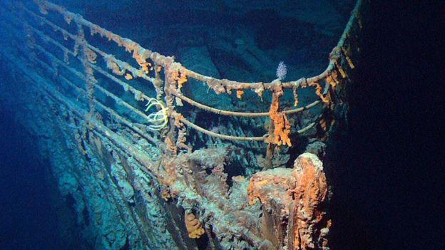 大西洋海床上的泰坦尼克号的残骸
