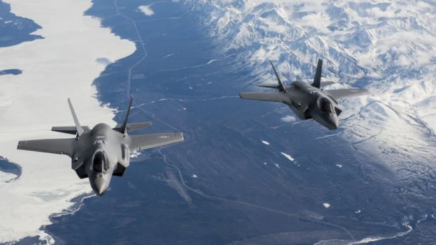 Two F-35A Lightning II aircraft en route to the 354th Fighter Wing at Eielson Air Force Base, Alaska