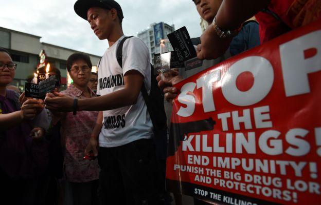 Protestas en contra de Duterte por su política contra las drogas.