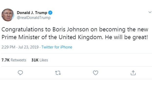 Trump on Boris Johnson