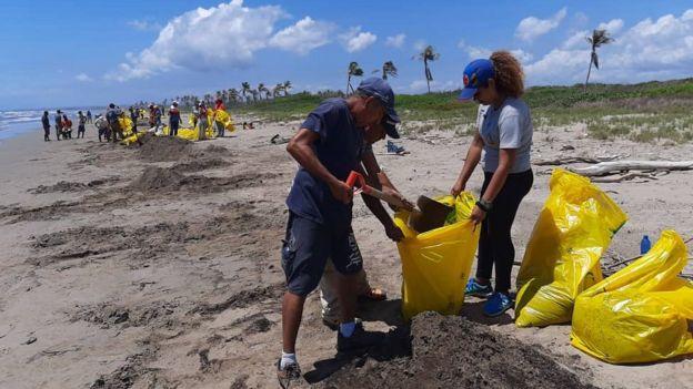 Labor de voluntariado en las playas afectadas.