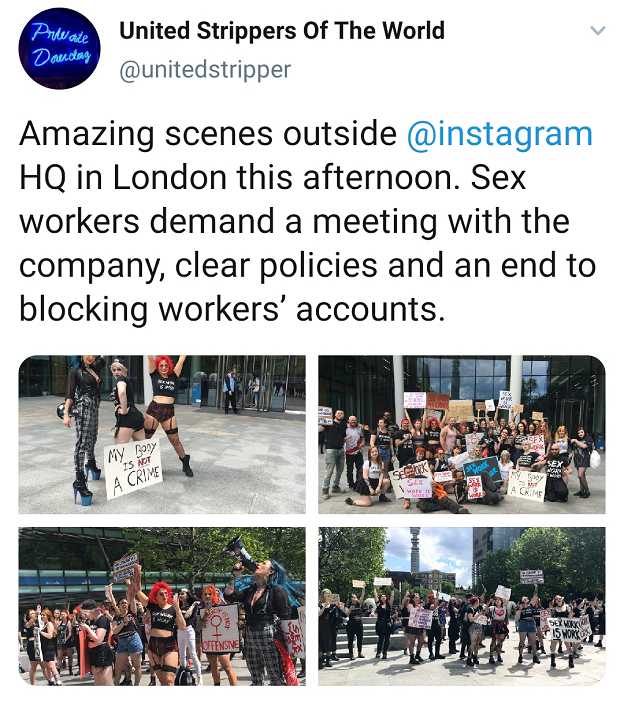 An Instagram post showing protests outside the company's London headquarters