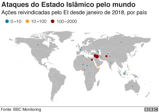 mapa dos ataques do EI