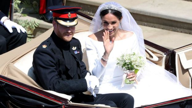 242cdfbb4d34 Prince Harry and Meghan Markle leave St George's Chapel in Windsor Castle  after their wedding