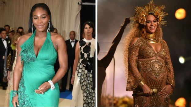 Composite image of Serena Williams and Beyoncé when both were pregnant