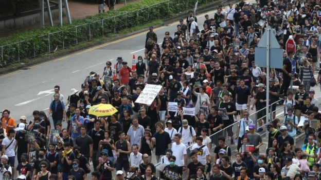 Protesters march during a rally in Hong Kong