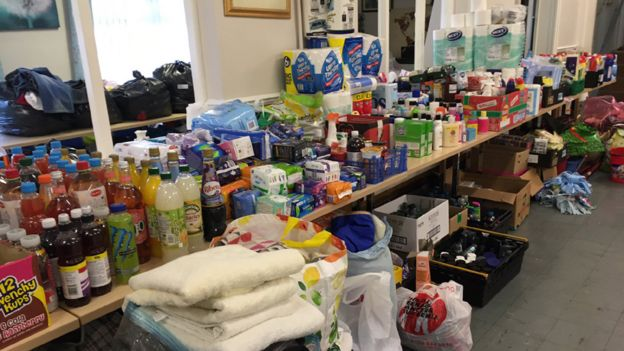 Volunteers have been gathering food for those forced to leave their homes