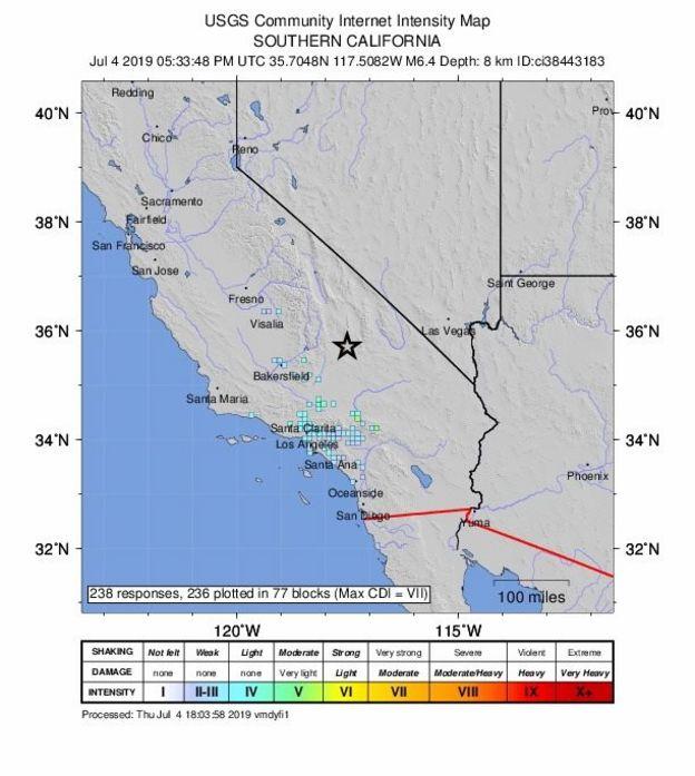 el mapa de USGS que muestra la intensidad del sismo.