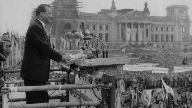 Willy Brandt Mayor of West Berlin, addresses the crowds on May Day in front of the Reichstag, Berlin, 1960