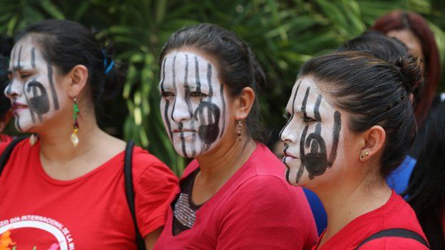 Women demand a change in El Salvador's abortion laws in April 2015