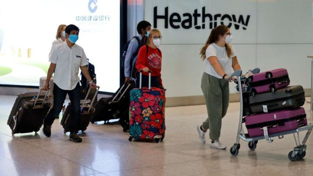 Passengers arriving at Heathrow