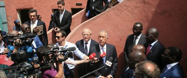 Portuguese President Marcelo Rebelo de Sousa visits the House of Slaves (Maison des Esclaves), a museum and memorial to the Atlantic slave trade on Goree Island, 3 km off the coast of the city of Dakar, on April 13, 2017.