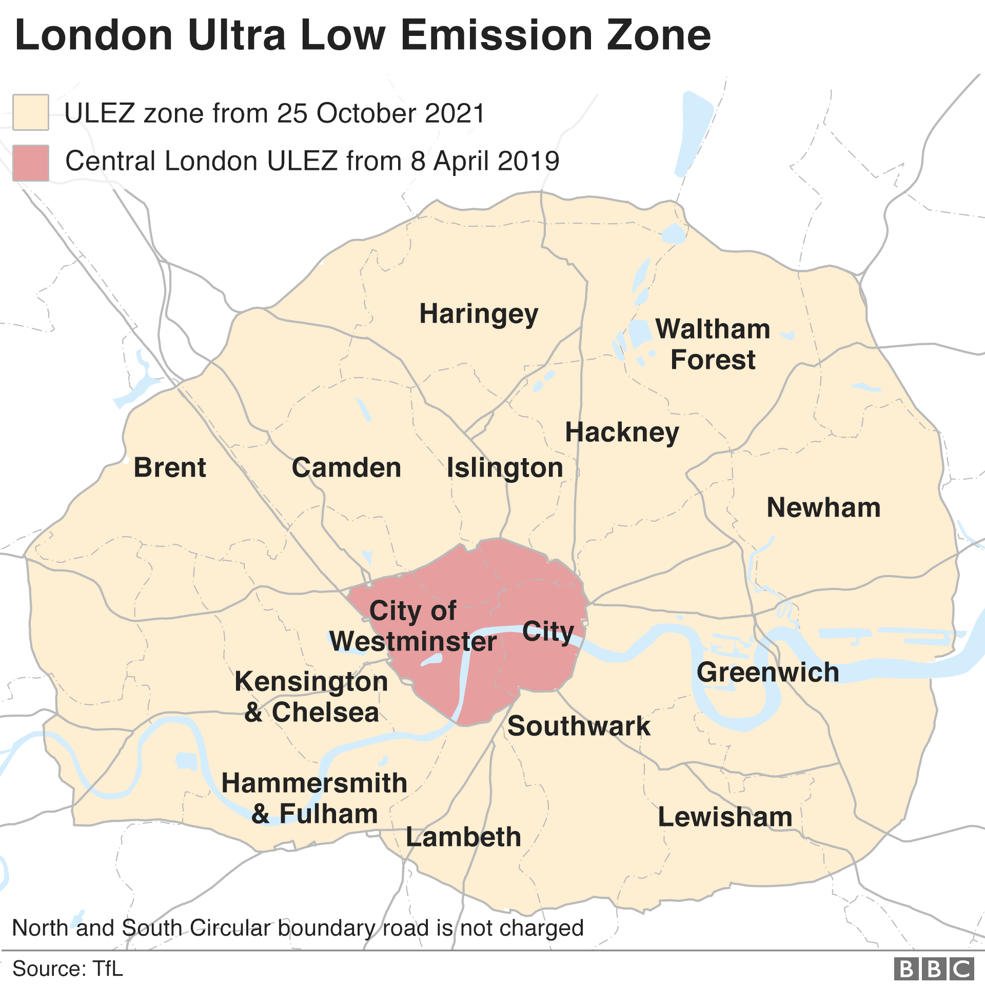 London City Area Map.Ulez New Pollution Charge Begins In London Bbc News