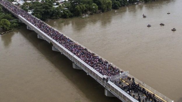 Aerial view of a Honduran migrant caravan heading to the US, as it is stopped at a border barrier on the Guatemala-Mexico international bridge