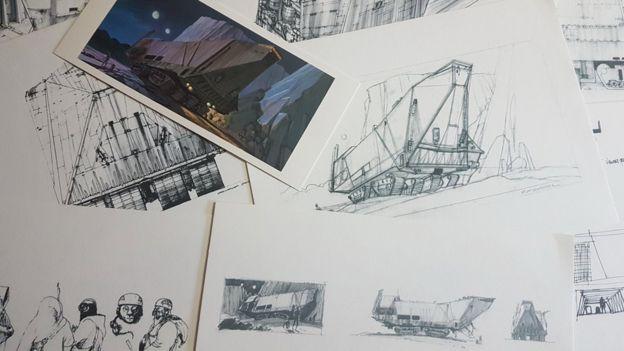 Los primeros bocetos del Sandcrawler de Ralph McQuarrie, de la colección de Paul Bateman