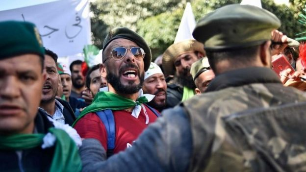 Veteran soldiers from Algeria's civil war take part in a demonstration against ailing President Abdelaziz Bouteflika in the capital Algiers on March 29, 2019