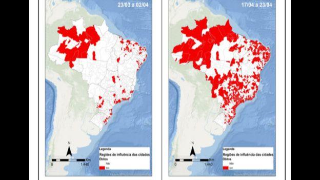 Dois mapas do Brasil com distribuição de óbitos pelo país, em dois períodos diferentes (27/03-02/04 e 17/04-23/04)