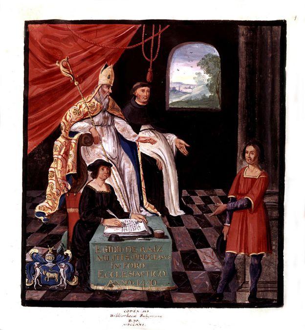 Juicio de Gilles de Rais, con el obispo Jean de Malestroit, 1440, Francia