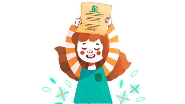 Ilustração: Joana com um documento na mão