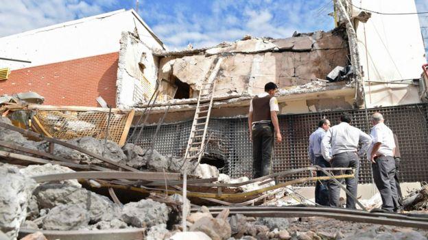Escombros del edificio de prosegur