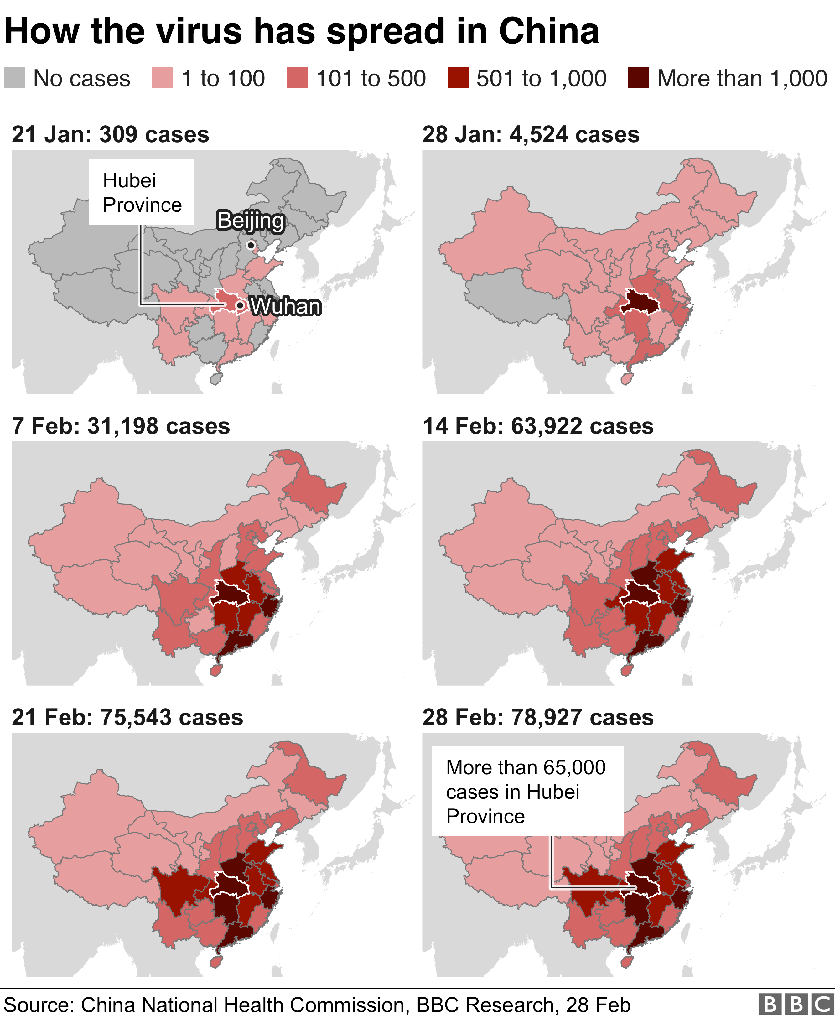 Series of maps showing how the coronavirus has spread in China