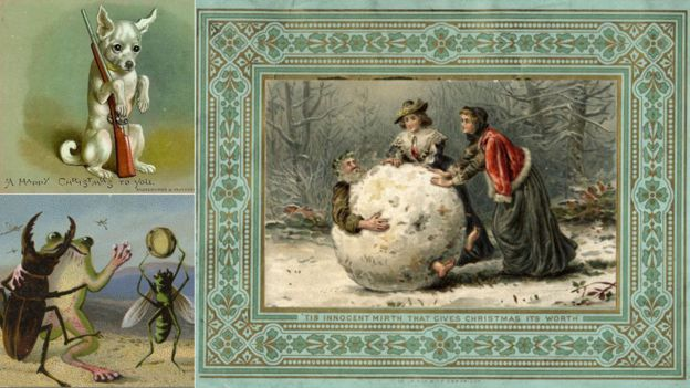 Frog murder and boiled children merry christmas victorian style image caption all a dog wants for christmas is a gun while a frog and a beetle enjoy a festive dance christmas is a time for mirth the card on the right m4hsunfo
