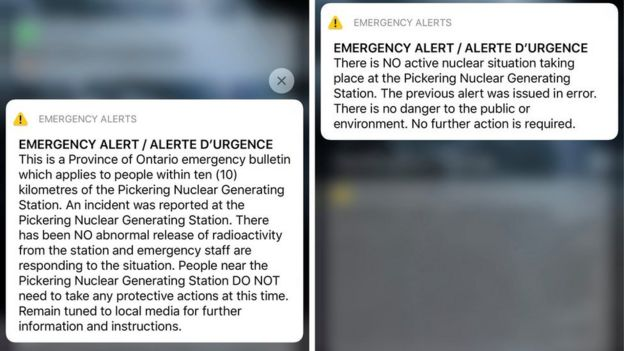 A provincial emergency alert announcing an incident at Pickering Nuclear Generating Station