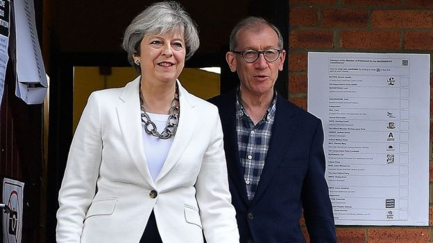 Theresa May y su esposo Philip.