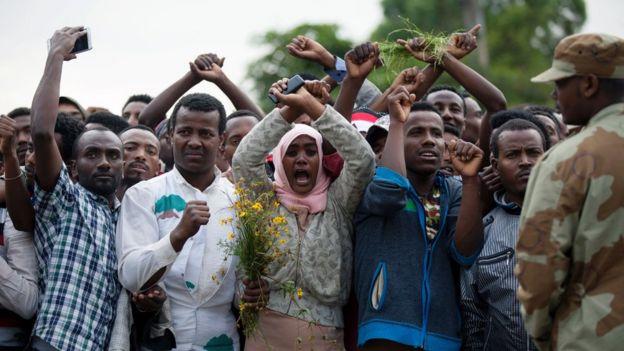 Protesta en favor de los Oromo en Etiopía