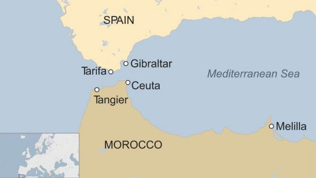 Coast Of Spain Map.Migrants On Flimsy Boats Leave Tangier Coast For Spain Bbc News
