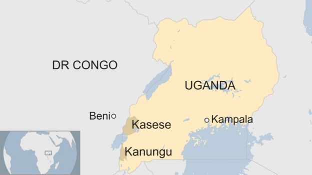 Map of Uganda's border with DR Congo