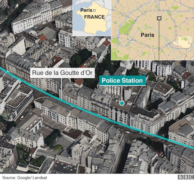 Map of police shooting in Goutte d'Or