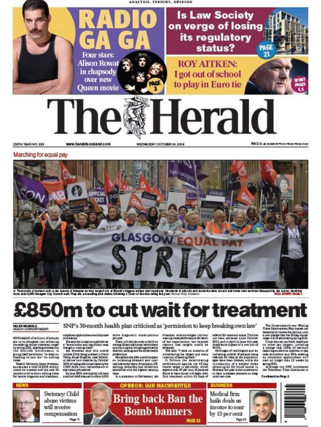 Scotland's papers: child abuse payouts and court trial - BBC