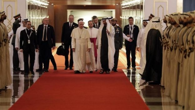 "Pope Francis is welcomed by Abu Dhabi""s Crown Prince Sheikh Mohammed bin Zayed Al Nahyan"
