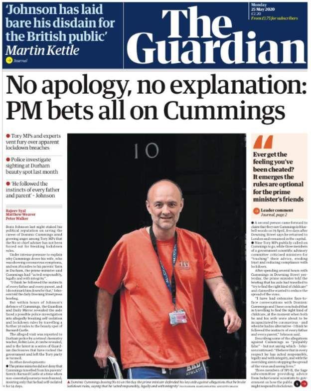 """Guardian manşeti: """"Özgür yok, izah yok: Başbakan bahiste her şeyini Cummings'e yatırıyor"""""""