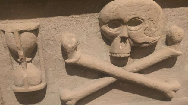 Skull and hourglass on a memorial