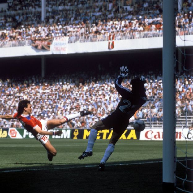 Bryan Robson scoring against France after 27 seconds at the 1982 World Cup