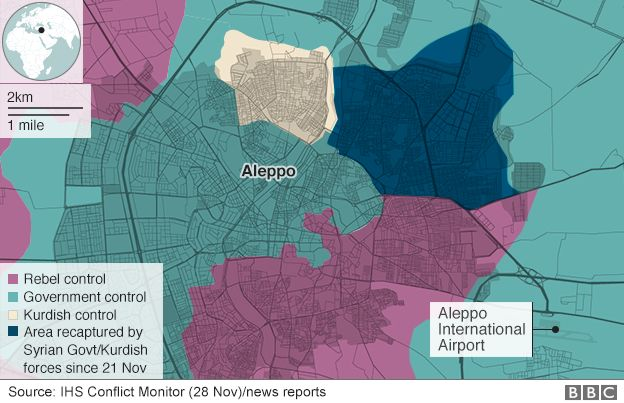 Map showing Aleppo areas of control (28 November)