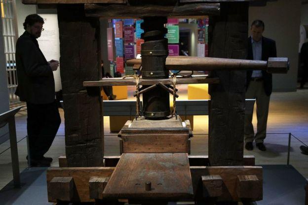 Imprenta de Gutenberg en una muestra en Washington.