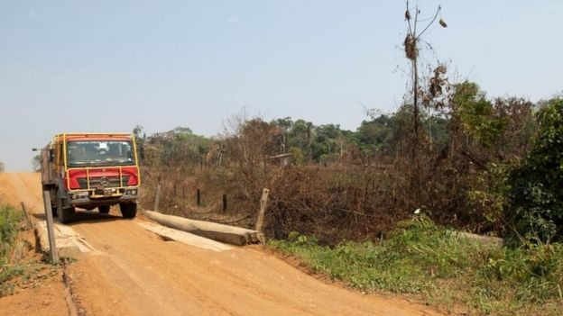 A fire truck searches for potential fire sources in the Amazon rainforest at the state of Rondonia, Brazil, 27 August 2019.