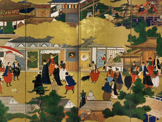 Ilustração sobre a presença de portugueses em Nagasaki no século 16