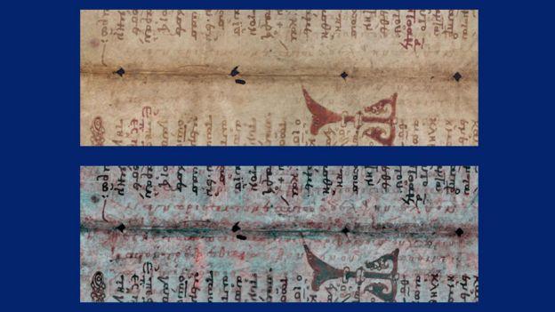 Un pedazo de una página como se ve con los textos religiosos arriba; abajo la tecnología revela lo que antes no se veía.